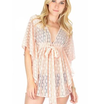 Lyss Loo Air & Sea Blush Lace Cover-Up Top