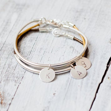 Leather initial silver tube bar personalized jewelry stamped wedding bridesmaid gift bridal tiny bangle friendship charm minim