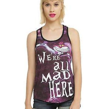 "Licensed cool ALICE IN WONDERLAND CHESHIRE CAT ""WE'RE ALL MAD HERE"" RACER BACK TANK TOP JRS."
