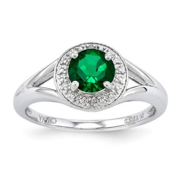 Sterling Silver Diamond & Simulated Emerald May Birthstone Ring