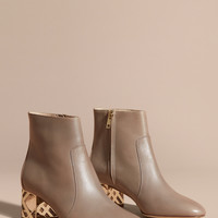 Check Heel Leather Ankle Boots Mink Grey