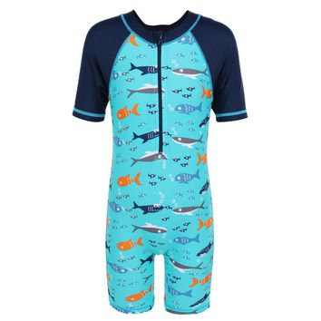3-10Y Summer Boys Kids Safety Swimwear Bodysuit Cartoon Shark Training One-Piece Swimsuit Boys Children Surfing Bathing Suit