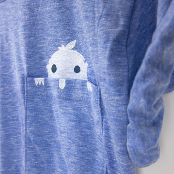 Yeti in my Pocket - Crew Neck Hand Stenciled Slouchy Boyfriend Fit Rolled Cuffs Women's Tee in Heather Ice Blue - S M L XL 2XL