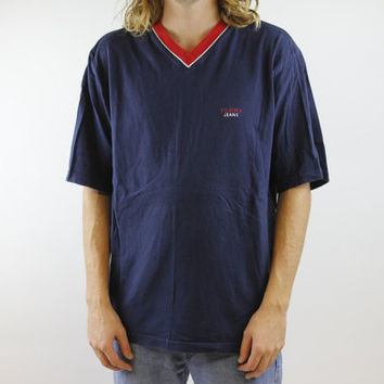 Vintage 90s Tommy Jeans Shirt - 1990s Tommy Hilfiger V-Neck T-Shirt - Short Sleeve Navy Red Tommy Tee