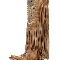 Women's Honey Crystal Pattern Fringe Boot - C2910