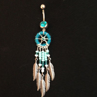 Aqua blue handmade sparkly dreamcatcher belly button ring