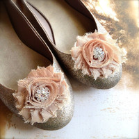 Chic blossom shoe clips in with rhinestone centers. Mocha, gray, plum, vintage print, brown. Holiday glamour.