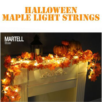 1.7M LED Lighted Fall Autumn Pumpkin Maple Leaves Garland Thanksgiving Decor For Home Party Decoration