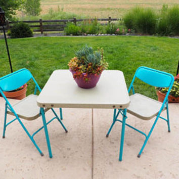 Vintage 60s Kids Table and Chairs | Turquoise and Gray Folding Table and Chairs by Samsonite | Play Room, Kids Room, Home School Decor