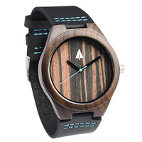 Wooden Watch // Ebony 37 Blue