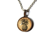Fruit art pendant Pineapple design Vintage jewelry Antique style Unisex n36