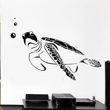 Vinyl Decal Wall Turtle Marine Ocean Bathroom Decor Art Mural Unique Gift (ig2567)