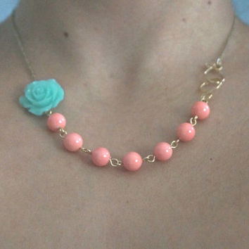 Peach coral flower necklace, Aqua flower necklace, Mint flower statement necklace, Seafoam necklace, Mother of pearl rosette necklace, gift
