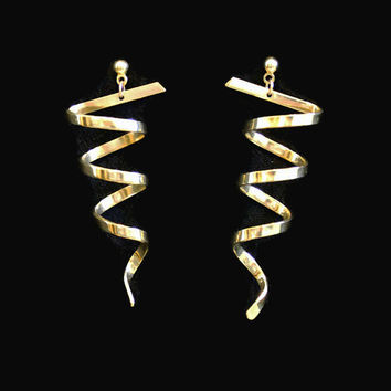 Vintage 1980's Spiral Earrings In Gold Tone Retro Earrings Pierced Earrings Dangle Earrings Drop Earrings