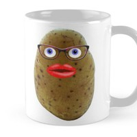 'Funny Potato Cute Female Character With Glasses' Mug by MarkUK97