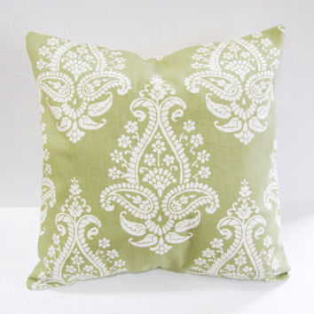 Spring Summer Pillow  Floral Paisley  Green and White  Contemporary Design  Woven Cotton  Home Decor  Accent Pillow  Decorative Pillows