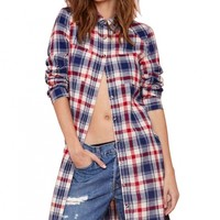 Classic Scottish Plaid Long Blouse - OASAP.com
