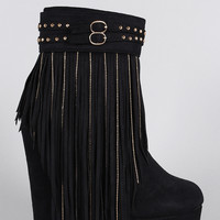 Suede Studded Fringe Round Toe Platform Wedge Booties