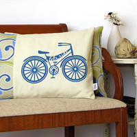 Bicycle Pillow Cover Lets Ride Retro Bicycle by sweetharvey
