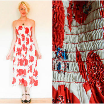 60s 70s vintage strapless dress / red Holly Hobbie sun dress / red hippie boho bohemian dress / paisley headscarf pattern whimsical size s-m