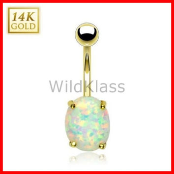 14k Opal 14k Gold Ring Opal Stone Belly Button Ring Solid Gold Navel Ring Prong Set Belly Button Piercing Navel Jewelry Opal Stone
