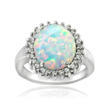 Sterling Silver Created Opal and Cubic Zirconia Oval Ring