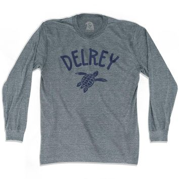 Delrey Beach Sea Turtle Adult Tri-Blend Long Sleeve T-shirt