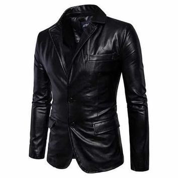 Biker Faux Leather Jacket for Men