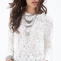 FOREVER 21 Floral-Embroidered Sweatshirt Cream