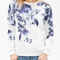 White Floral Printed Long Sleeve Sweatshirt