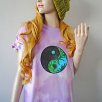 S/M/L YING YANG Palm Tropical Galaxy Festival T-Shirt Oversized Grunge Tie Dye