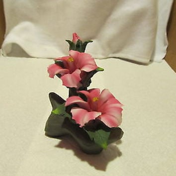 LARGE PORCELAIN PINK ORCHIDS ON A BRANCH FIGURINE