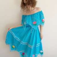 Vintage Blue Mexican Embroidered Flower Off the Shoulder Handkerchief Dress