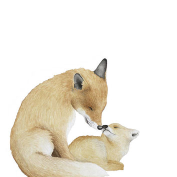 Mama and Baby Fox Watercolor Print