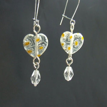 Tiny sweet heart earrings, girly yellow floral pattern heart glass bead jewelry, sisters mother daughter gift