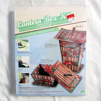 Oriental Lantern Box Sewing Kit Fabric Box with Dragonfly Accent Kit and Pattern