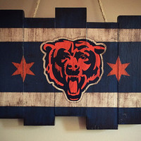 Chicago Bears Wooden Stained Flag; Handpainted; Football Decor; Mancave; Wood Sign; Wall Art; NFL; Distressed Rustic; Sports Gift Idea; Home
