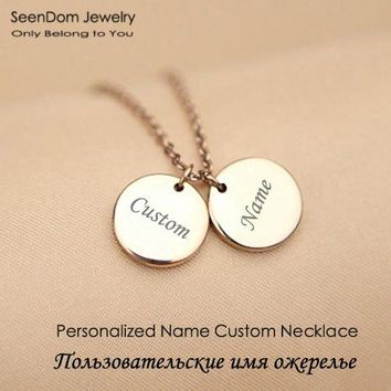 Personalized Name Engraved Gold Color Discs Chokers Custom Monogram Pendant Love Necklace Gift For Family Friends Valentines