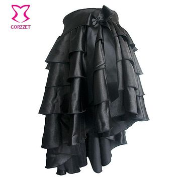 Victorian Black Ruffle Satin Layered Asymmetical Gothic Skirt Women Skirts With Bow Matching Steampunk Corsets and Bustiers