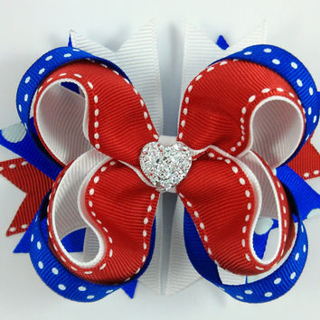 Red White Blue Stacked Boutique Hair Bow with Sparkly Heart~ July 4th Hair Bow~ Patriotic Hair Bow~ Gift for Her~ Gift for Child~ Photo Prop