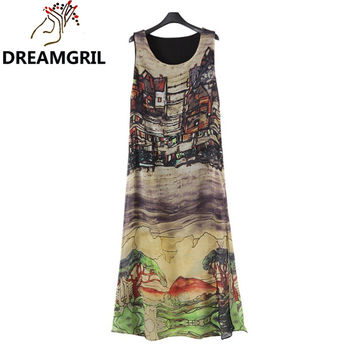 2016 Summer Style New Europe And America Women Sleeveless O-neck Hand Painted Landscapes Beach Sundress Long Vestidos Plus Size