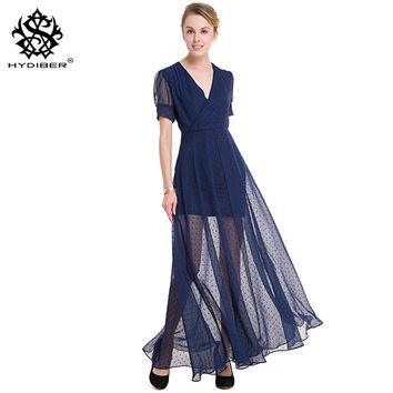2018 new V fashion collar and short sleeves and put a split shirt retro wave perspective Chiffon Dress