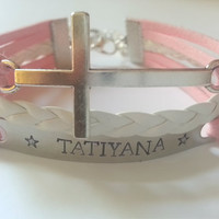 Personalized Sideways Cross Bracelet, Name Bracelet, Christian Bracelet feat. Hand Stamped Name - Customize/Choose Your Color!