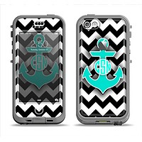 The Teal Green Monogram Anchor on Black & White Chevron Apple iPhone 5c LifeProof Nuud Case Skin Set