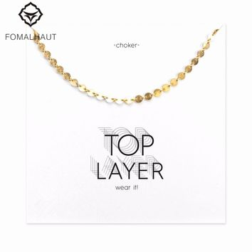 Hot Sale disc chain choker necklace Pendant necklace Clavicle Chain Statement Necklace Women FOMALHAUT Jewelry