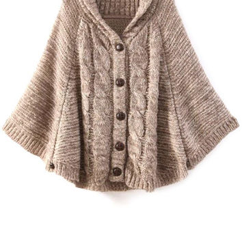 Cable-Knit Cape-Style Cardigan