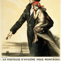 WWI Poster France The Health Inspector Will Show You The Road To Health. She Is