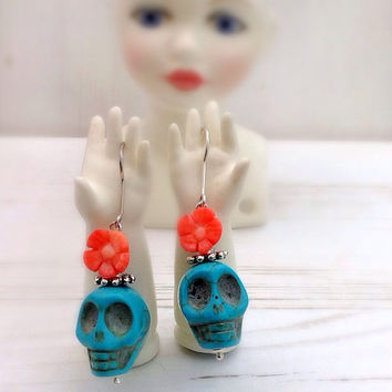 Turquoise skull earrings, sterling silver, cherry blossom, day of the dead, sugar skull jewelry, frida Kahlo style, blue