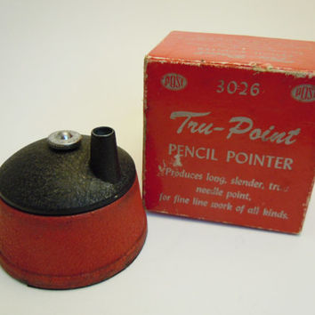 Tru Point Pencil Pointer | Vintage Sharpener and Box Cast Iron Model 3026 Frederick Post | Drafting Engineers Artists Draftsmen Tru-Point