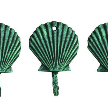 Scallop Shell Wall Hooks Cast Iron Antique Green Verdigris - Set of 3